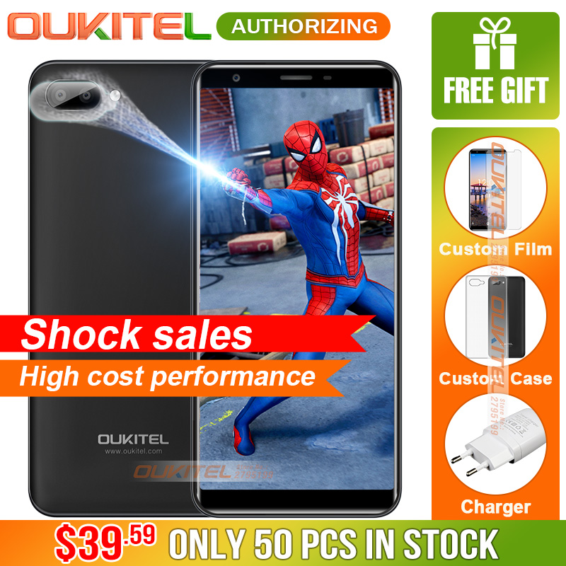 Oukitel C11 5.5 inch 18:9 Smartphone Android 8.1 1GB+8GB MTK6580A Quad Core 5MP+2MP2MP 3400mAh Battery Mobile Phone