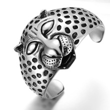 Huge Heavy punk leopard titanium stainless steel bangle for men fashion big and rigide Fast shipping STB1-008