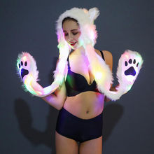 TELOTUNY HOT sell Christmas LED Fur HAT Stage fashion Night club Dancer party Hat Z0829(China)