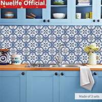 blue celadon ceramic tile design wall stickers kitchen bathroom living room bedroom anti skid wear resistant floor stickers