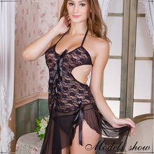 Hot Sexy 2016 Adult Black/White Plus Size Lace Trim Robe with Thong 6 colors choice Woman Sexy Nightgown feminino pyjamas 1842