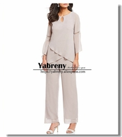 Sand Chiffon Pearl Trim Mother of the bride pants suits