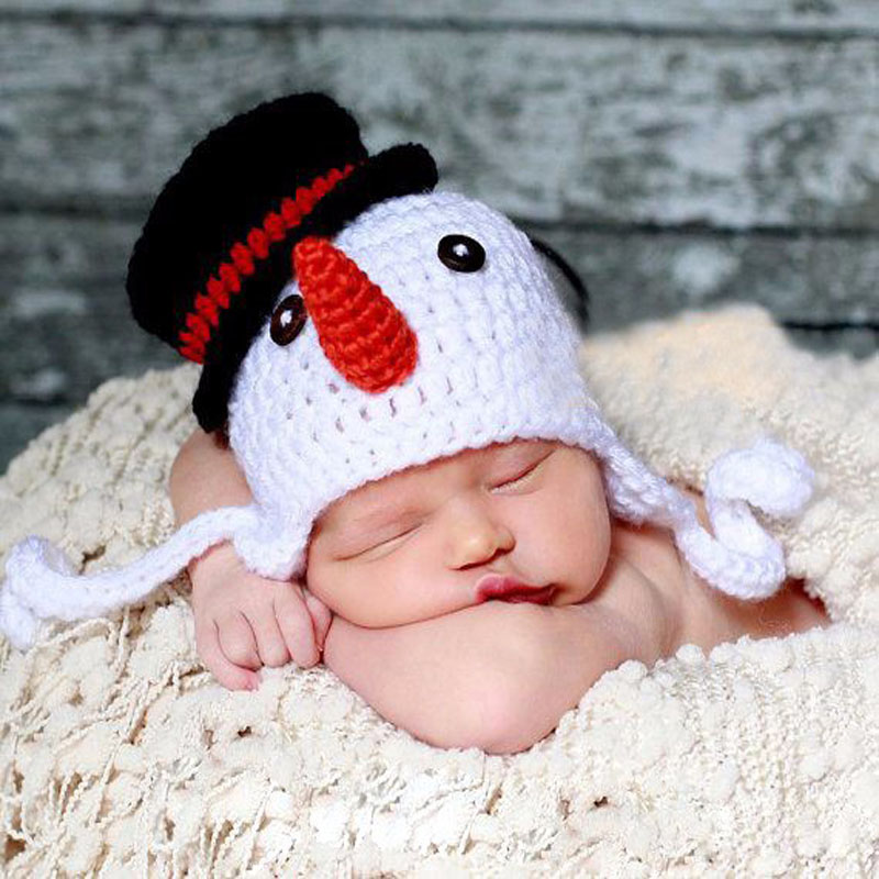 Crochet Knit Baby Beanie Snowman Pattern Earflap Cap Newborn Photography  Props Xmas Hat Party Costume 4ed653e7006
