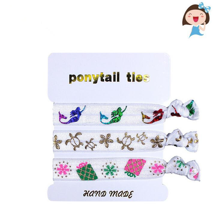 100sets(300pcs) Free shipping Hair Ties Bachelorette Birthday Party Favors Mermaid Party Favor Hair Tie with Gift Tag