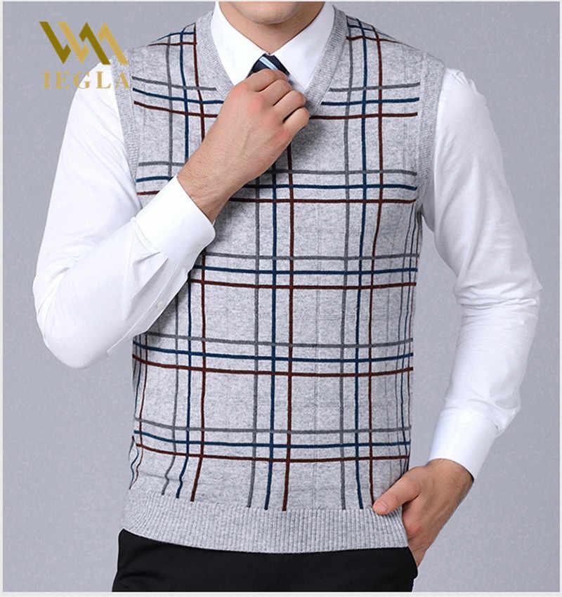Мужской свитер жилет Модные брендовые пуловеры мужские полосатые облегающие вязаные без рукавов шерстяные свитера Мужская куртка пальто