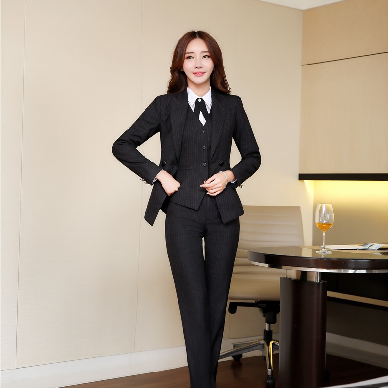 Fashion Striped Blazers For Women Autumn Winter Formal -5332