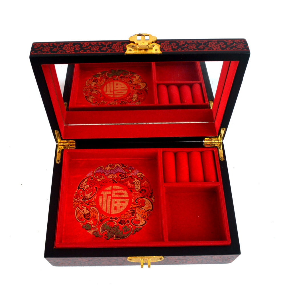 Feng shui Chinese vintage wooden red jewelry Box W wintersweet pattern J2093