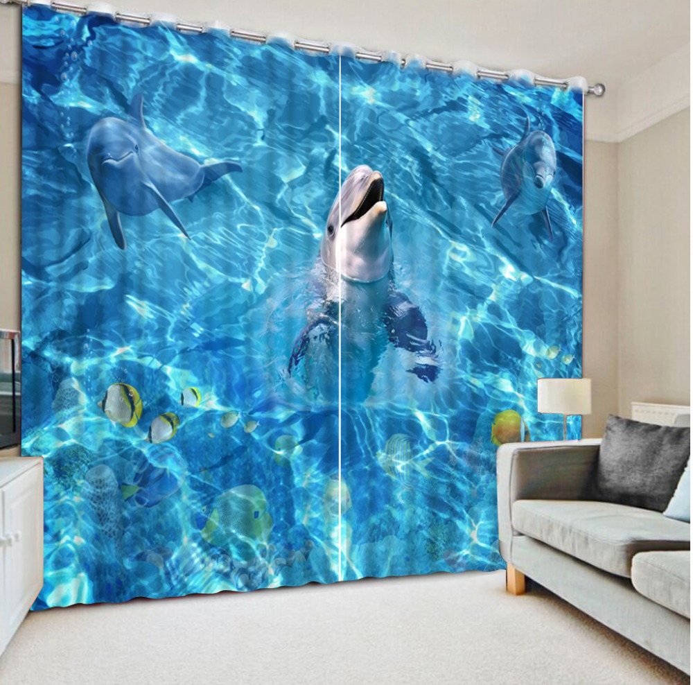 ocean dolphin curtains 3D Curtain Printing Blockout Polyester Photo Drapes Fabric For Room Bedroom Windowocean dolphin curtains 3D Curtain Printing Blockout Polyester Photo Drapes Fabric For Room Bedroom Window