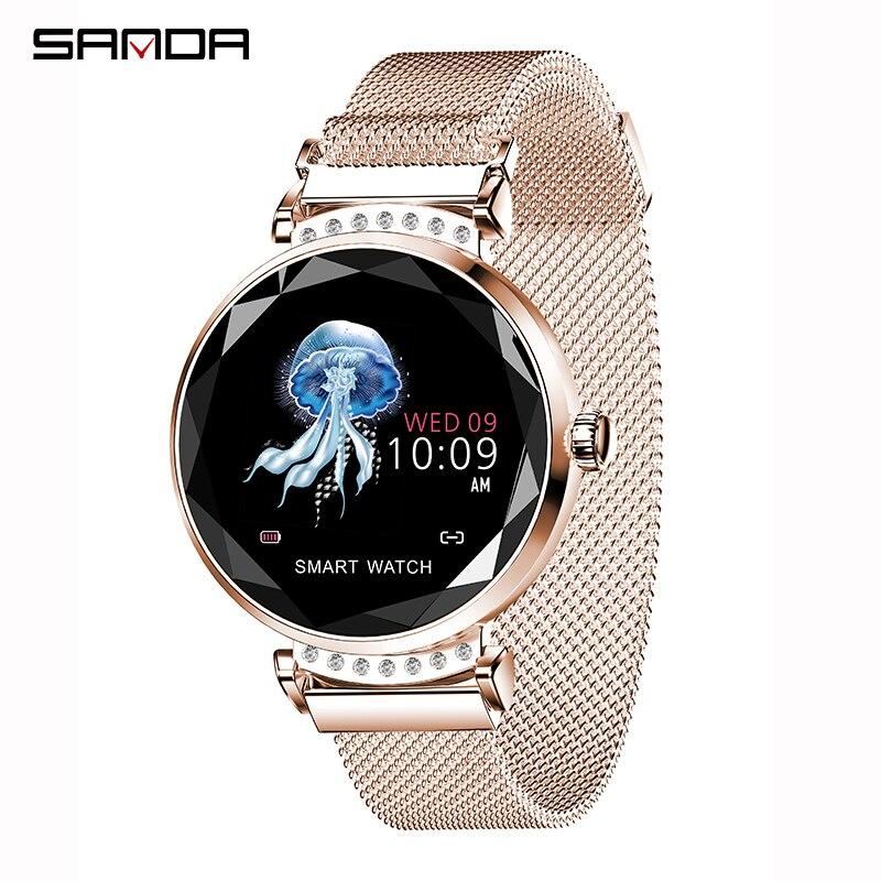 SANDA luxe maille strass montre intelligente femmes Bluetooth moniteur de fréquence cardiaque pression artérielle Fitness Tracker dames Smartwatch
