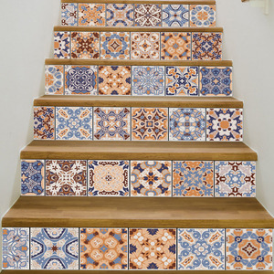 Image 5 - 6pcs Classic Design Tile Stair Risers Stickers Set Staircase Decals Removable Waterproof Mural Wallpaper for Home Decoration