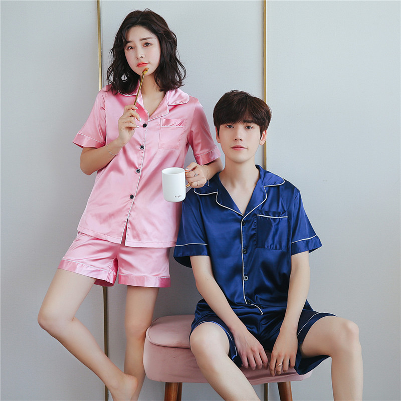 Summer Short Sleeve Couple Silk Pajamas Set Women Thin Ice Silk Large Size Sleep Wear 2 Piece Suit Solid Color Simple Pyjamas