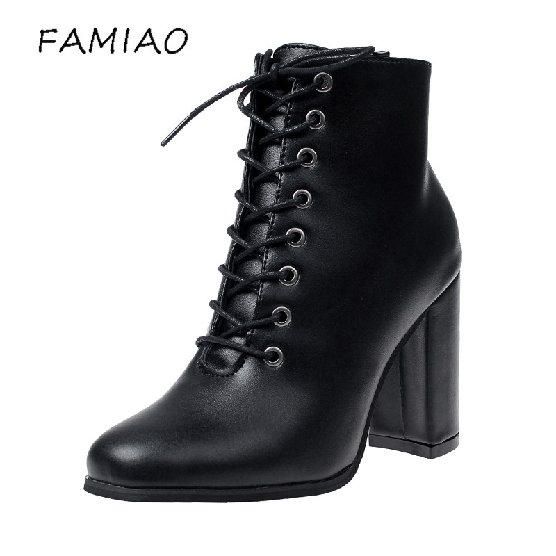 FAMIAO women sexy boots lace up high heel botas mujer ankle boots for women winter boots  party bota feminina chaussure femme 2017 fashion women boots botas mujer zapatos mujer ankle boots for women thigh high boots chaussure femme bottes femmes 2016