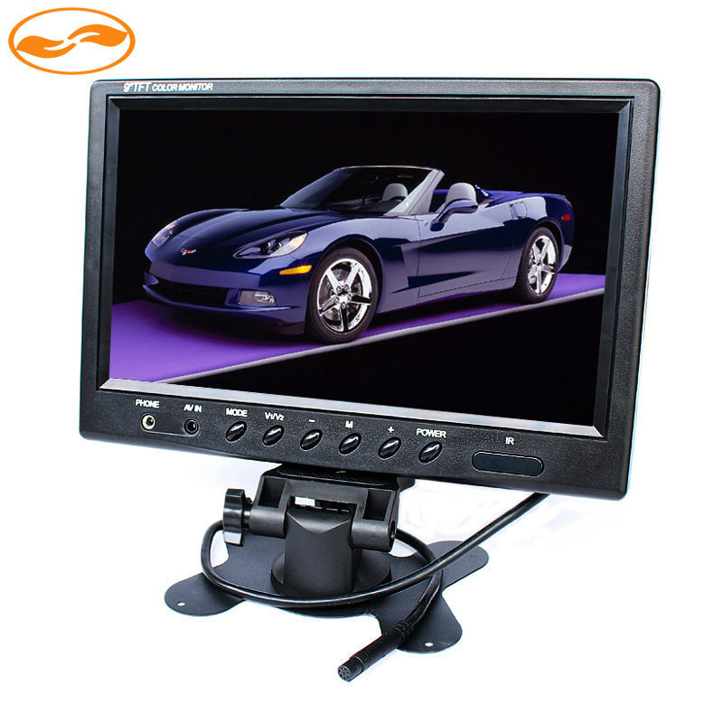 GreenYi 9 Inch 800*480 TFT LCD Color Screen Headrest Display Car Monitor with 2CH Video Input for Rear View Camera