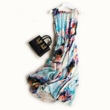 Summer new chiffon sleeveless dresses round collar waist Bohemia