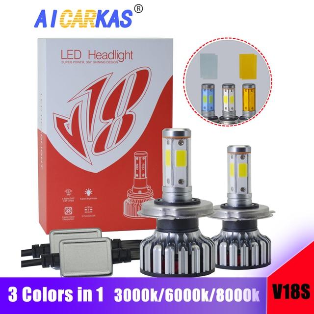 AICARKAS 3 Colors in 1 COB LED Headlight Bulbs H1 H7 H11 9005/HB3 9006/HB4 9012 H4 9004 H13 60W 8000LM Turbo LED Car Light 12V