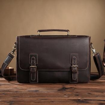 Special Offer Luxury Natural Crazy Horse Leather Men Handbags Vintage Briefcase Genuine Leather Horizontal Men Messenger Bags