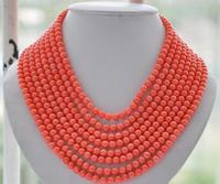 FREE SHIPPING>@@> 3333 8strands Real round pink coral bead necklace