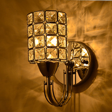 Column cylindrical silver golden corridor LED stair corridor living room bedroom crystal bedside wall light lamp sconce