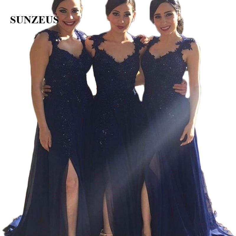 Navy Blue Chiffon   Bridesmaid     Dresses   Plus Size Arabic Appliques Beaded Side Slit Party   Dresses   Long vestido madrinha casamento