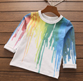 T-shirt para os meninos primavera de algodão de manga comprida em torno do pescoço encabeça a roupa do bebê por atacado