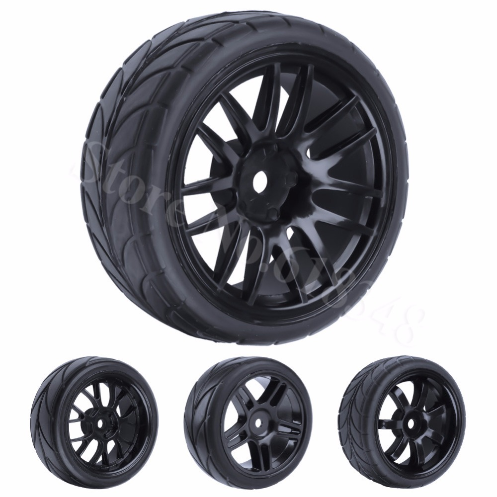 4Pcs 26mm Rwber RC Tires & Rims Olwyn Hex 12 Am 1: 10fed HSP HPI Sbrint 2 Drift RS4 Ceir Ar y Ffordd 4WD