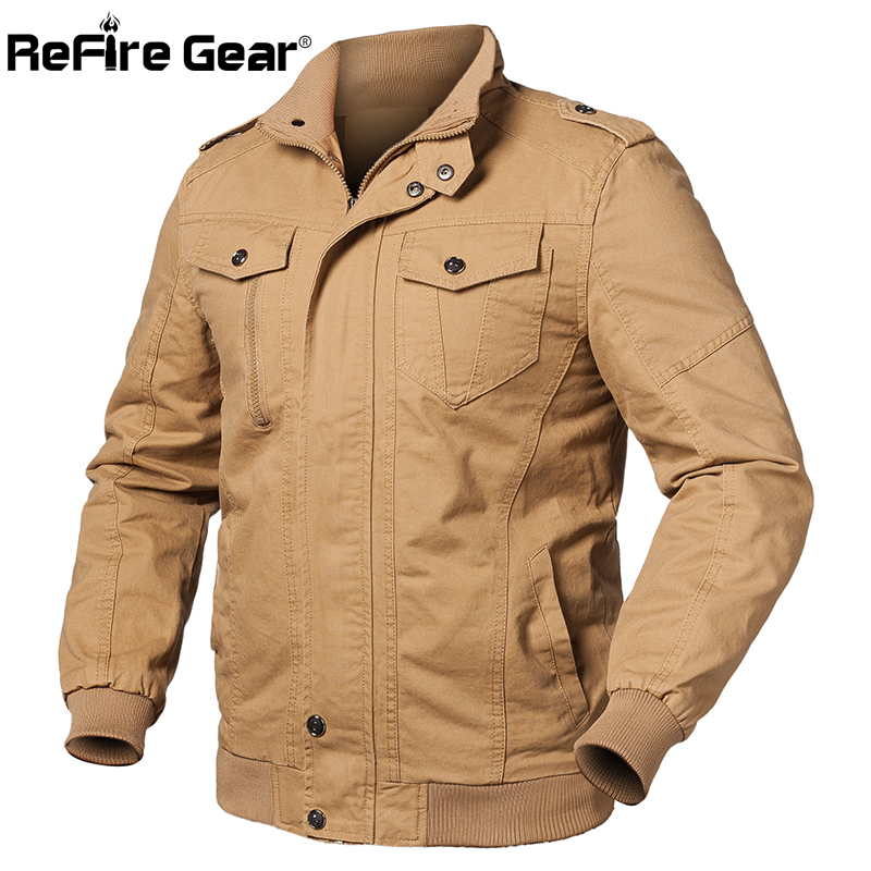 ReFire Gear Air Force Army Military Jacket Men Spring Pilot Bomber Jacket Fashion Cotton Coat Male Flight Cargo Tactical Jackets