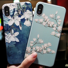 For iphone 6 7 8 6s Cover Case X XS Plus Phone xs Emboss flower Black