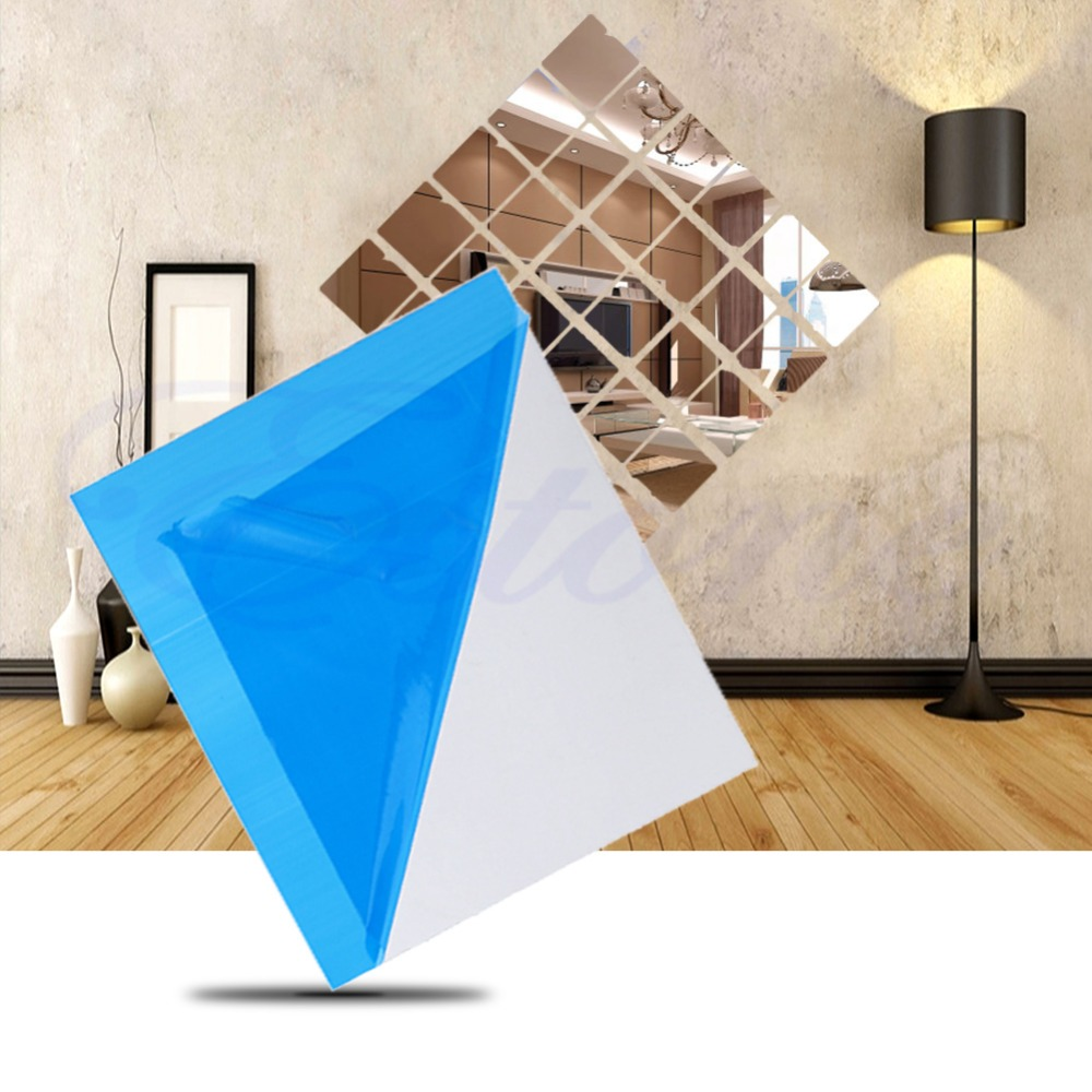 16 x Self Adhesive Mirror Tiles Wall Stickers High Gloss Room Home ...