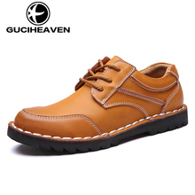 Brand cow leather men casual shoes 2017 genuine leather comfortablemen shoes lace-up three color choose GQM801