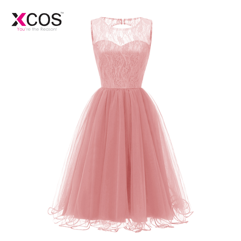 Cheap Tea Length Bridesmaid Dresses 2019 New Coral Lace Top Tulle Skirt Elegant Formal Wedding Guest Gowns Custom Made