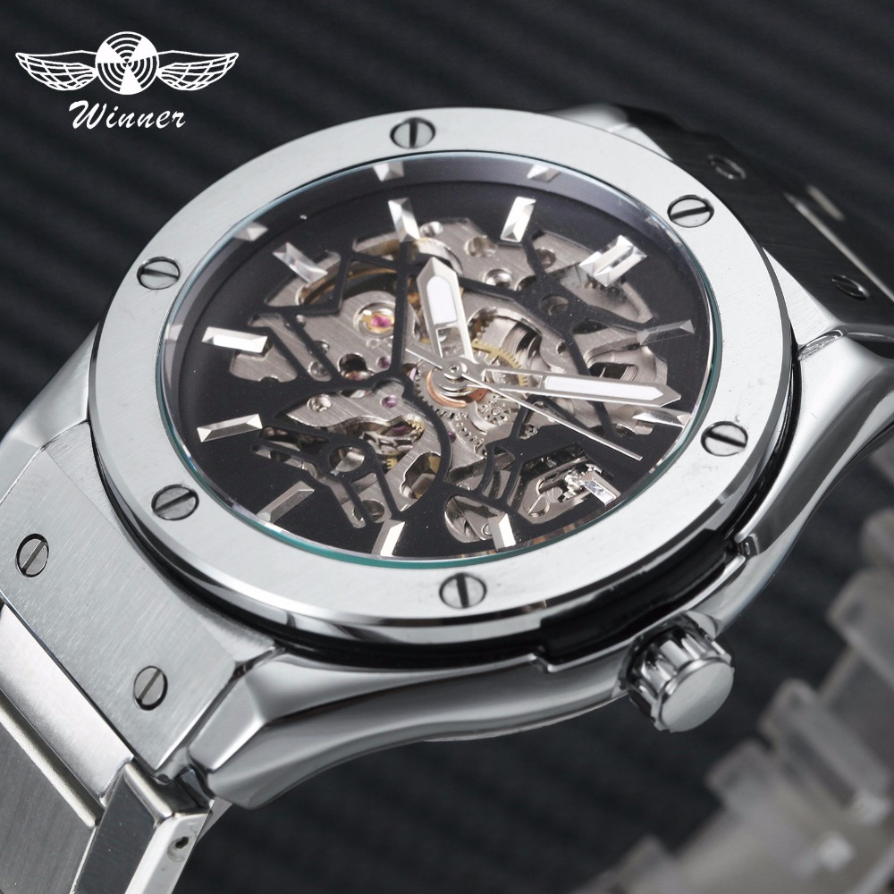 Steampunk Men Automatic Mechanical Watch 3D Bolt Design Skeleton Dial Silver Stainless Steel Strap Wrist Watches