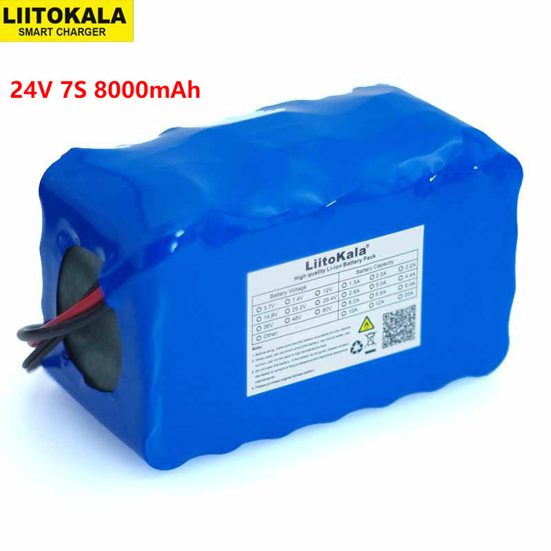 LiitoKala 24V 7S4P 8000mAh high power 8AH 18650 Lithium Battery pack with BMS 29.4V Electric bicycle electric car backup power 24v 10 ah 6s5p 18650 battery lithium battery 24 v electric bicycle moped electric li ion battery pack