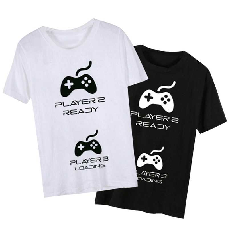973a714b8d ... Pregnancy Reveal Couple T-Shirts With Game Controllers Player 1 With  Player 3 Loading Unisex ...