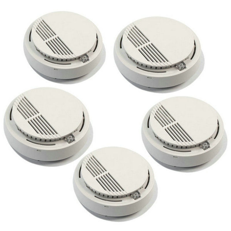 10pcs/lot Hot Home Security Photoelectric Cordless Smoke Detector Fire Sensor Alarm White