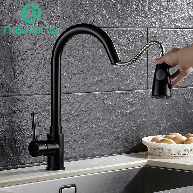 Nieneng kitchen faucet pull out mixer black sink tap kitchen appliances torneira tools brass faucet basin water mixers ICD60361 black brass vanity sink pull out faucet basin mixer hot and cold water for bathroom toilet kitchen