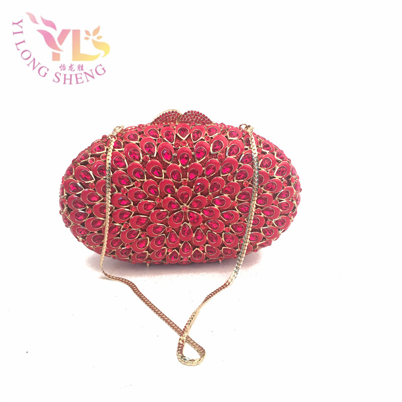 Women Wedding Evening Bag Fashion Handmade Crystal Evening Clutch Bags in Red Decorated with Crystals for Evening/Event YLS-G32 luxury crystal clutch handbag women evening bag wedding party purses banquet