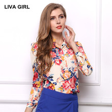 LIVA GIRL women blouse 2017 Summer fashion Flowers blusa Long sleeve printing shirt plus size Stand Tops Work clothes