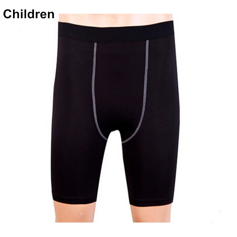 #1004K Children Kids Gym Fitness Sport Jogging Basketball Cycling Thermal Gear Base Layer Tights Shorts Male Height 120-150cm