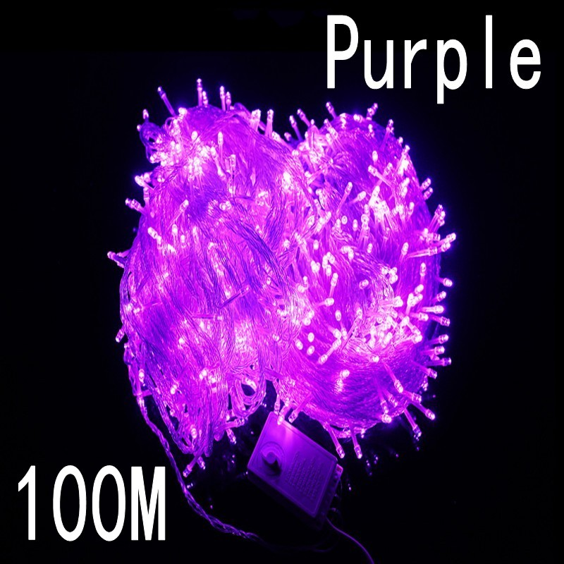 Purple colour 100 meter 800 LED Christmas Lights 8 Modes for Decorative Christmas Holiday Wedding Parties Indoor / Outdoor Use