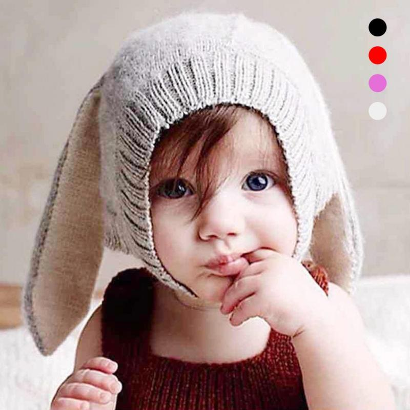 Cute Cap bunny ear Baby Hat For Girls & Boys Knit Baby Hats Beanie Candy Color Toddler Children Hat photo props R2-16H
