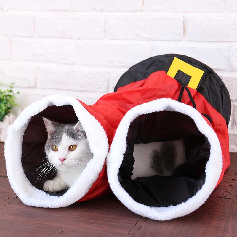 חיות מחמד חתול מנהרת צעצוע 2 חורים ייחודי מצחיק חג המולד צפצף עיצוב עם כדורי מתקפל ארנב חתלתול חתול משחק מנהרת צעצועים לחתולים