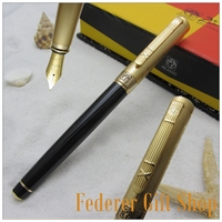 Real Picasso Gentleman Series Fountain Pen Black And Gold Sculpture Cap Metal M Nib Luxury Business