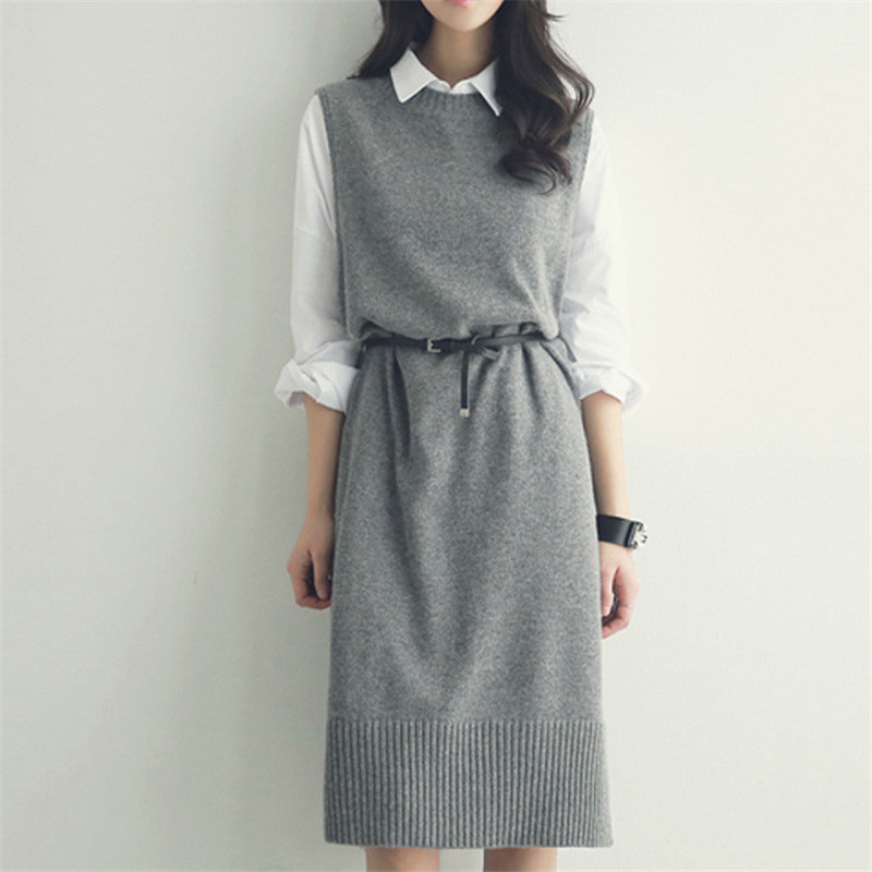Casual O-neck Long Knitted Sweater Dress Women Cotton Slim Sleeveless Dress Pullover Female Autumn Winter Dresses With Belt