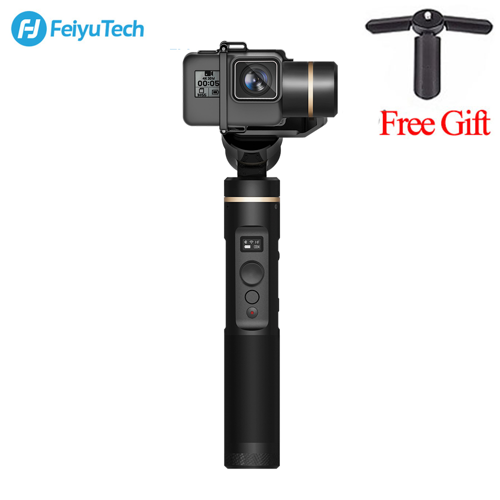 цена на Feiyu FeiyuTech G6 Handheld gopro gimbal Update Version of G5 Wifi + Blue Tooth OLED Screen Elevation Angle for Hero 6 5 4 RX0