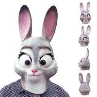 Сумасшедший Животные кино Джуди голова кролика Маски для век Латекс Полный начальник Уход за кожей лица Маски для век для Хэллоуина Костюм ...