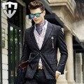 MWAMI Высокое Качество 2015 Мужчин 100% Шерсти Теплый Бизнес Свадьба жених Формальные Костюмы Куртка Молодой Человек Супер Тонкий Плед Мода блейзер