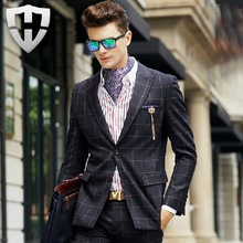 MWAMI High Quality 2015 Men 100% Wool Warm Business Wedding Groom Formal Suits Jacket Young Man Super Slim Plaid Fashion Blazer