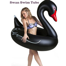 120cm Inflatable Black Swan Swimming Ring adult Floating Swimming pool float Beach Mattress Flamingo Swan Swim Circle Water toys цена