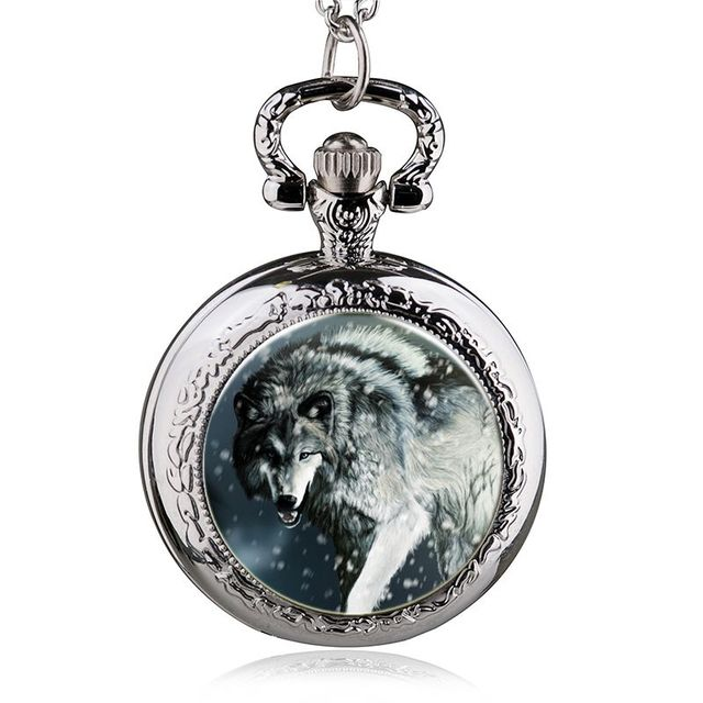 Fashion Wolf Deer Pocket Watch Necklace Woman Fob Watches Silver Black Bronze Ro