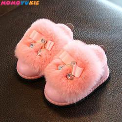 Зимние ботинки с бантом-бабочкой для девочек, Зимняя Теплая обувь на плоской подошве, с круглым носком, на молнии, детская обувь, бежевые